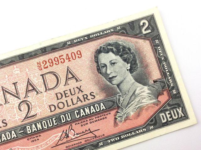 Canada UNC $2 Dollars 1954 P-76d BC-38d N//G Prefix Lawson-Bouey QE II Banknote