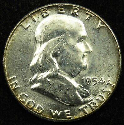 ABOUT UNCIRCULATED* 90/% SILVER *FREE SHIPPING* 1954 S Franklin Half Dollar *AU
