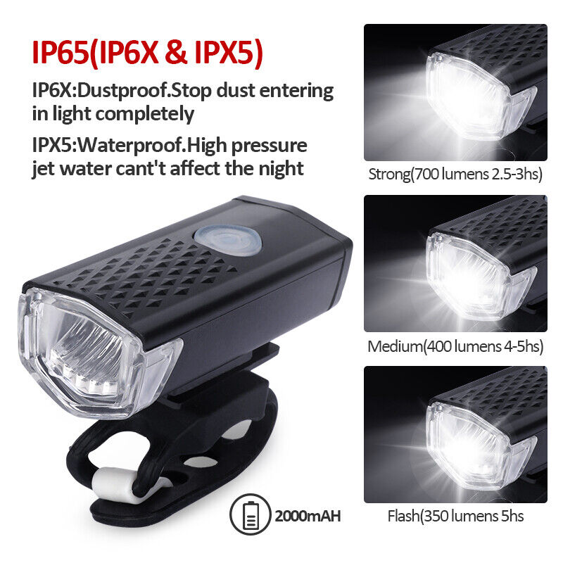 LED Bike Lights Rechargeable 15000LM Cycling Bicycle Headlight//Rear Light Set CN