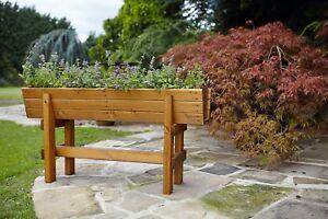 Large Raised Deep Wooden Trough Planter Veg Herb Flower Plant High