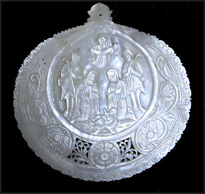 ANTIQUE MOTHER OF PEARL CARVED SHELL BIRTH JESUS CHRIST RELIGIOUS ICON 19th.C