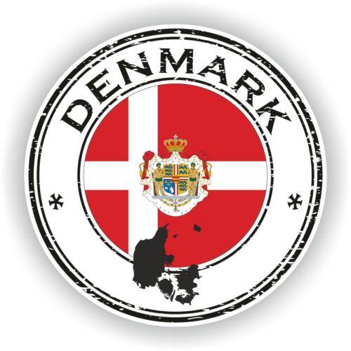 Sticker of Denmark Stamp for Bumper Travel Car Laptop Tablet Suitcase Hollidays