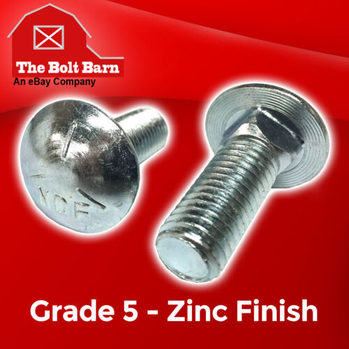 "2 1//2-13 x 3/"" Grade 5 Carriage Bolts Round Head Square Neck Bolts COARSE Zinc"