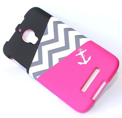 Alcatel One Touch FIERCE 7024W HARD SNAP ON CASE COVER PINK BLACK CHEVRON ANCHOR