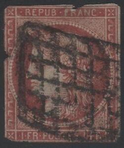 FRANCE-STAMP-TIMBRE-N-6-034-CERES-1F-CARMIN-FONCE-1849-034-OBLITERE-A-VOIR