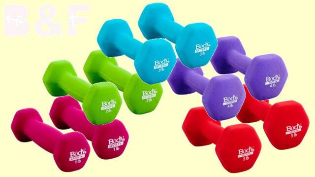 10 Piece DUMBBELL SET 5 pairs of neoprene dumbbells by BODYSPORT