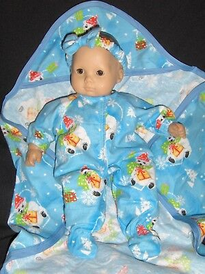 New Doll clothes fits American Girl Bitty Baby dolls Flannel Sleeper Handmade