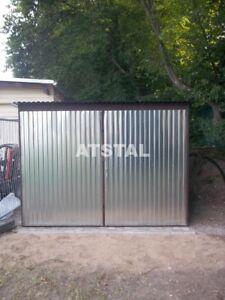 Blechgarage-3x5x2-14-verzinkt-Garage-Lager-Schuppe-Stahlhalle-Garagen-Aufbau
