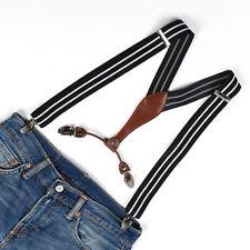 Black White Striped Men's with 4 Clips Adjustable Unisex Suspenders Braces BD641