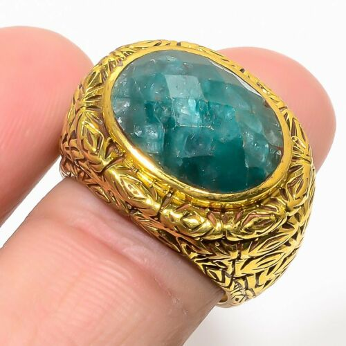 Natural African Emerald Mens Ring Gold Tone Ottoman Wedding Fine Jewelry Gifts