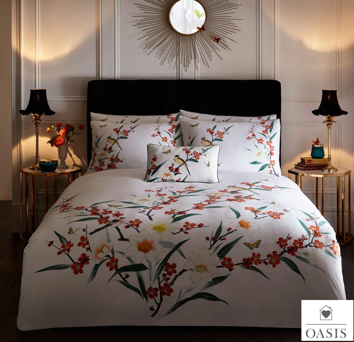 Oasis OSAKA Avorio Fresco delicato Uccellini & Farfalle Copripiumino Set di biancheria da letto