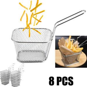 8x Edelstahl Eckig Frittierkorb Servierkorb Frituese Braten Korb Pommes Frit DE