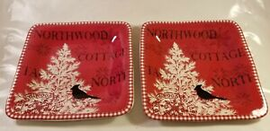 222-Fifth-NORTHWOOD-COTTAGE-8-034-Square-Salad-Plate-set-of-2-Red-plates-EUC