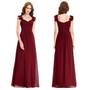 Wine red cocktail prom dresses formal evening bridesmaid for Vineyard wedding dresses for guests