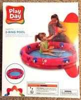 Play Day Inflatable Kiddie 2-ring Swimming Pool 48 X 10 Pink Mermaid