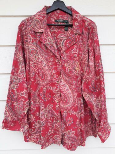 Plus LRL Ralph Lauren Pajama Set Red Paisley Cotto