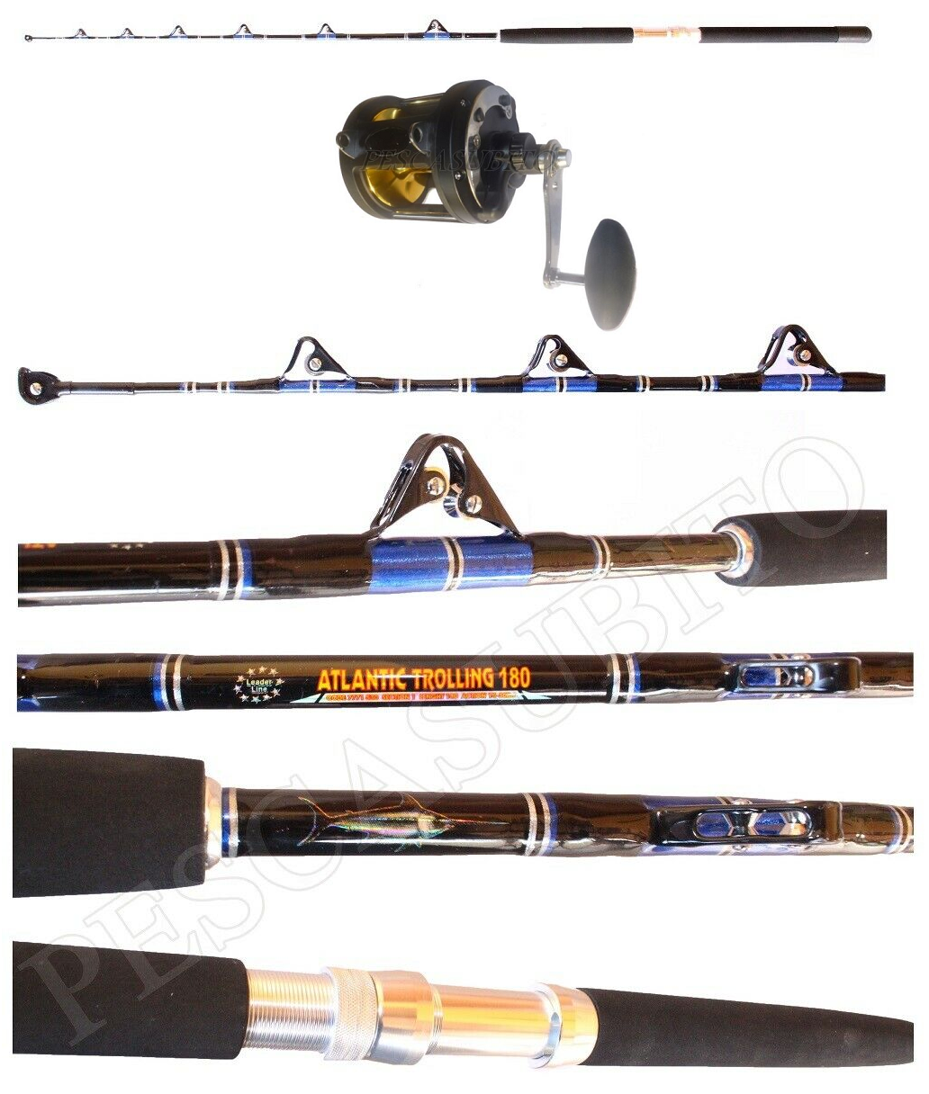 Kit Canna Atlantic Trolling 1530Lbs  Mulinello Pesca Traina Tonno Drifting EH