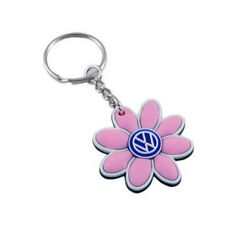 VW Logo Beetle Passat Jetta Golf,GTI,  Pink Daisy Flower Small Key Chain    NEW!