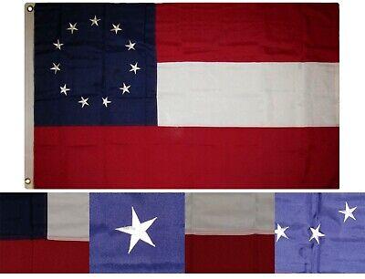3x5 Embroidered 1st National 13 Stars /& Bars 210D Sewn Nylon Flag 3/'x5/' 2 Clips