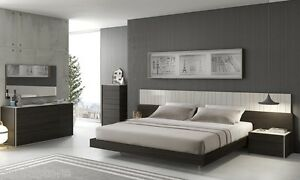 Premium 5 Piece Queen Size Bedroom Set Gray Lacquer Finish Built-In LED Lights