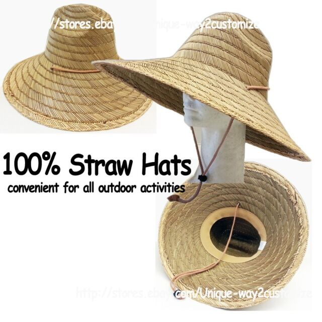100 Straw Gardening Hat With Adjule String Beach Farming Fishing Hiking