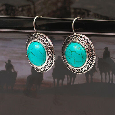 Fashion Tibetan Silver Round Turquoise Stone Hook Earring Hot Jewelry