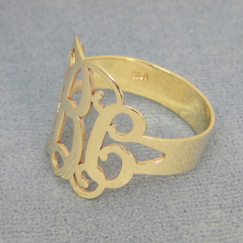 Solid 10k Gold 3 Initial Monogram Ring Bridesmaids Gift Personalize Jewelry NR31