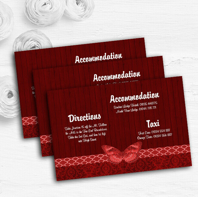 Rustic Vintage Wood Butterfly Deep rot Wedding Guest Information Cards