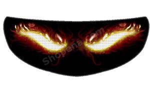 Fire Eyes Helmet Visor Sticker Flame Devil Motorcycle Shield Decal - Motorcycle helmet visor decals