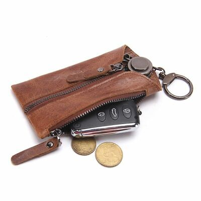 Women Men Vintage Leather Key Ring Keychain Cover Keys Holder Organizer