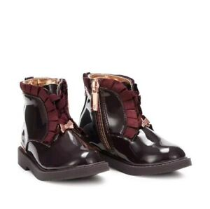 Baby Girls Ted Baker Wine Patent Boots
