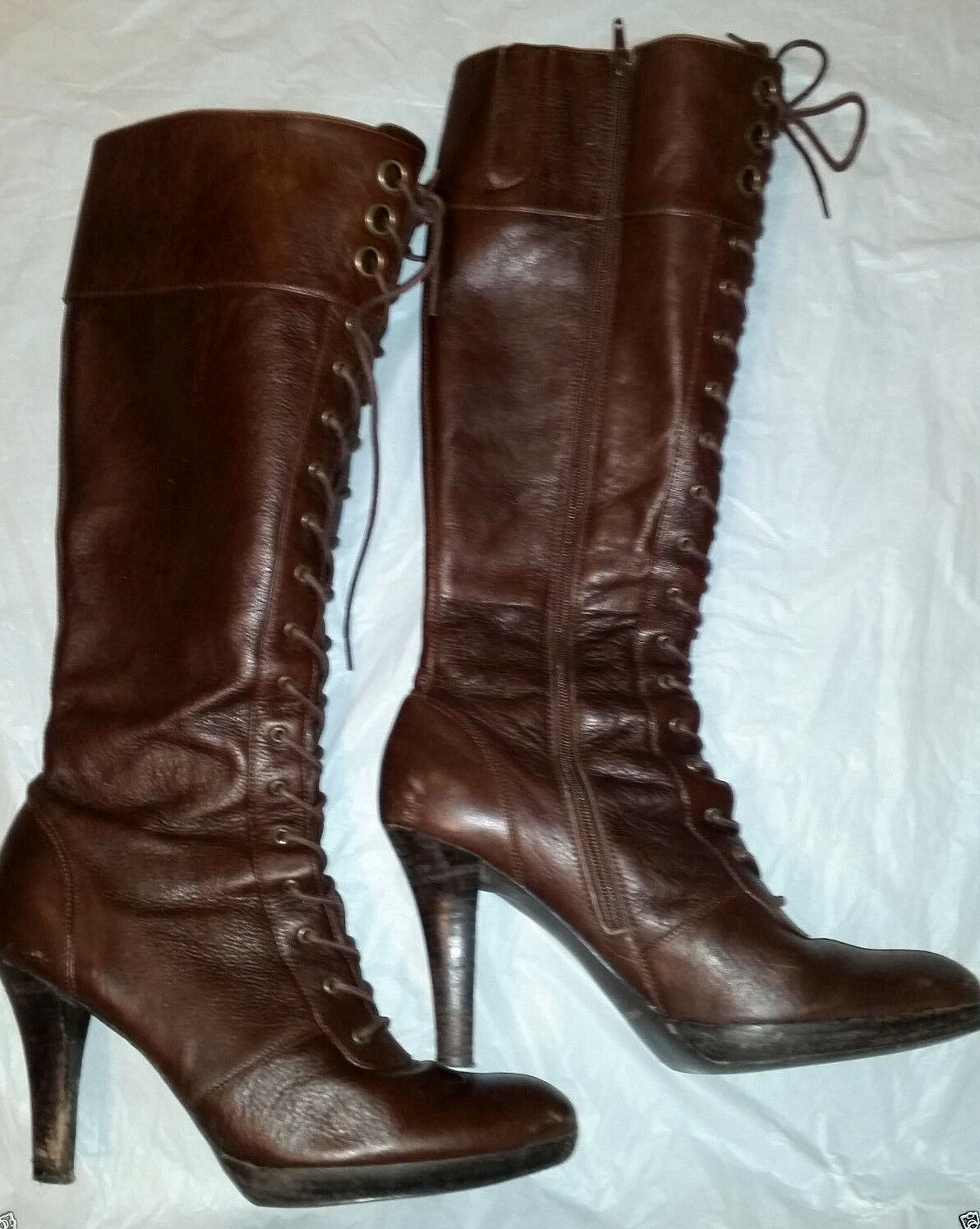Nine West Nordstrom Lace Up Sexy Knee Braun Leder boots Größe 10 stiletto