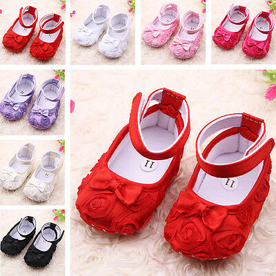 Toddler Infant Newborn Prewalker Baby Girl Rose Shoes Anti-slip Cotton Soft Sole