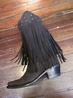 Cowboy Boots Womens Fringe Snip Toe Black