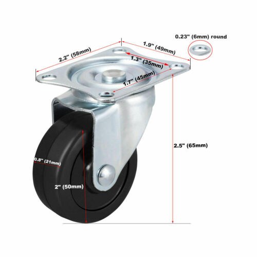 "NEW 2pc 2/"" Swivel Caster Wheels Hard Rubber Top Plate w// Ball Bearings 2pcs!!"