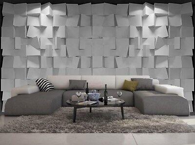 Carta Da Parati Moderna Design.Carta Da Parati 3d Moderno Design Effeto Mur Cube Gris Ebay