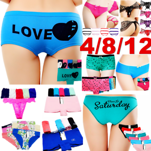 4-Women-Panties-Underwear-Bikini-Lace-Cotton-Thong-Briefs-Shapewear-Body-Shaper