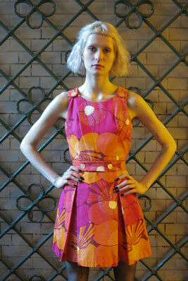 Coscienzioso Carl Rückardt Kg Miniabito 70er True Vintage Abito Woman Dress Flower Power Rosa-