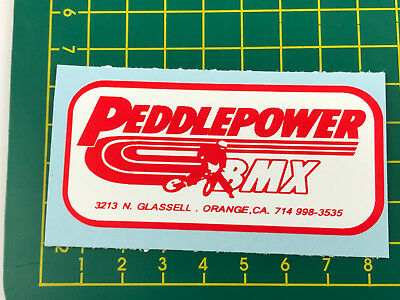 old school bmx decals stickers peddlepower cyclery navy blue on white
