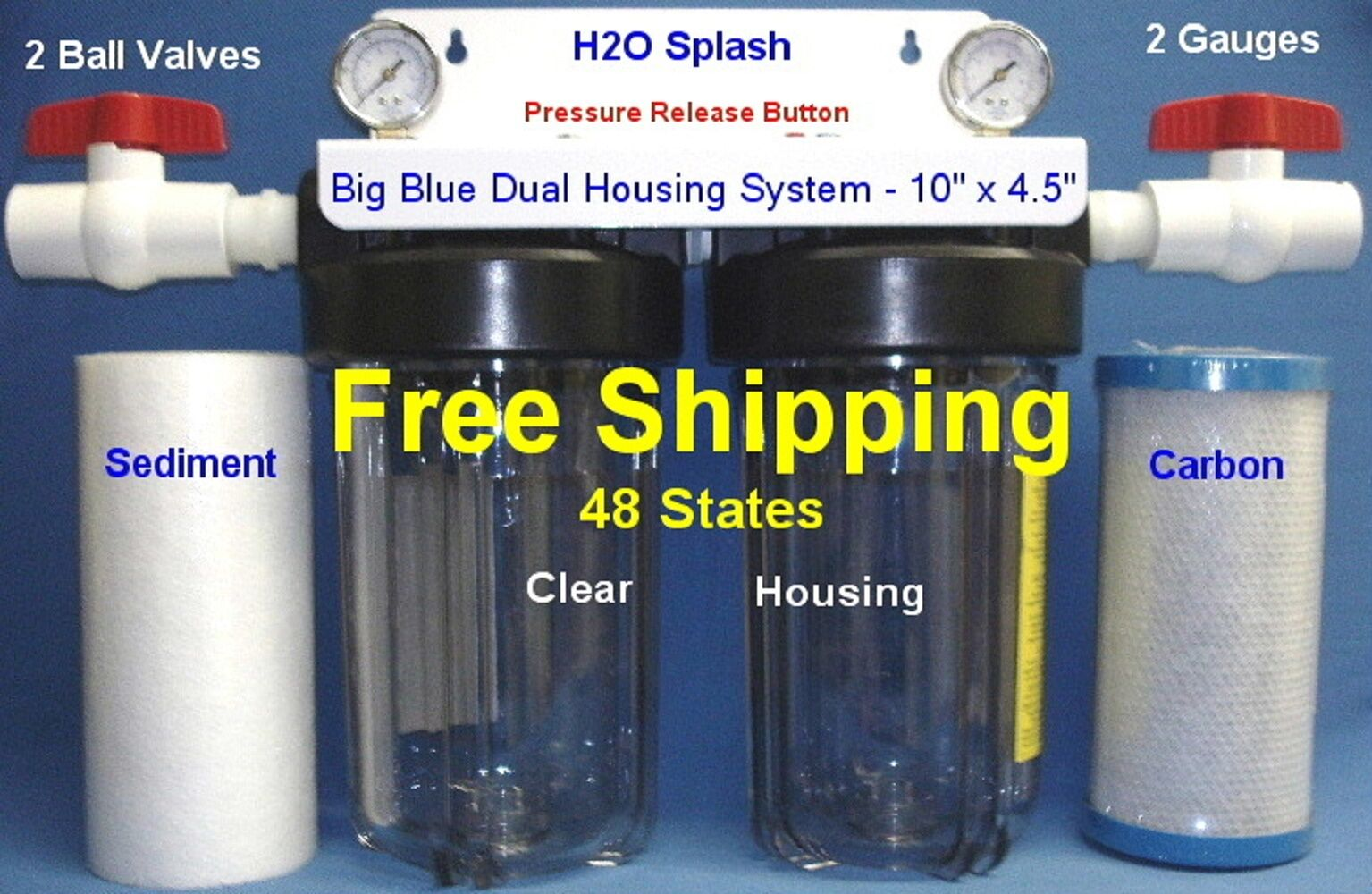 Big bluee 10  Dual Clear Whole House Water Filter 1  Ports Sediment Carbon BV H2O