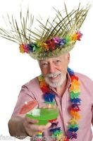 Adult Mens Ladies Hawaiian Straw Hat Fancy Dress Costume Outfit Accessory