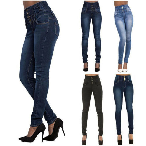 Damen Hohe Taille Denim Jeans Hosen Tregging Damenjeans Stretch Hüft Röhrenjean