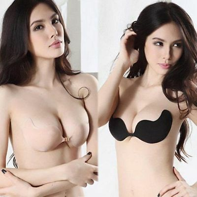 Sexy Push Up Self-Adhesive Silicone Bust Front Closure Strapless Invisible Bra S
