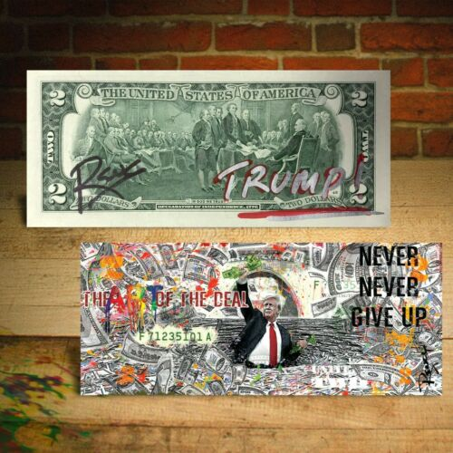 Bill HAND-SIGNED by Rency DONALD TRUMP The Art of the Deal Genuine $2 U.S