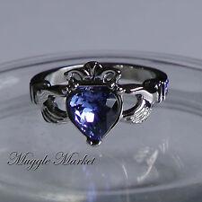 Hogwarts Ravenclaw House crown Ring Blue crystal Claddagh friendship angel Alloy