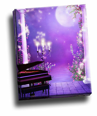 Moonlight Serenade Purple Garden Piano Gothic Giclee Canvas Wall Picture Art