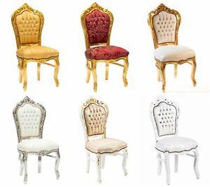 Dettagli su Poltrona sedia Barocco Luigi XVI legno oro argento bianco tessuto pelle 6 colori