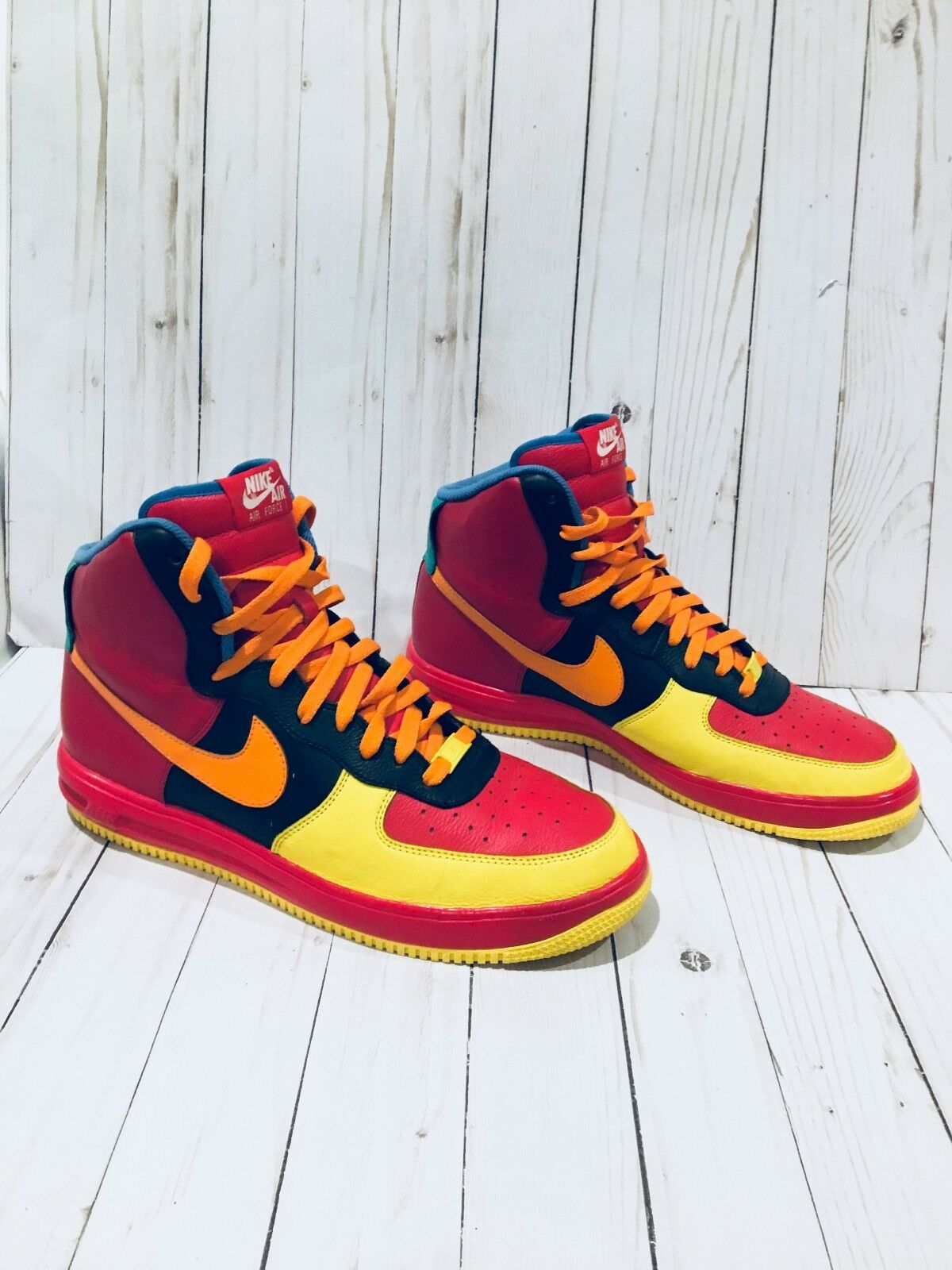 RARE Nike I.D. Air Force 1 High Top shoes 808787-991 Men's 11.5 Red,orange,Ylw