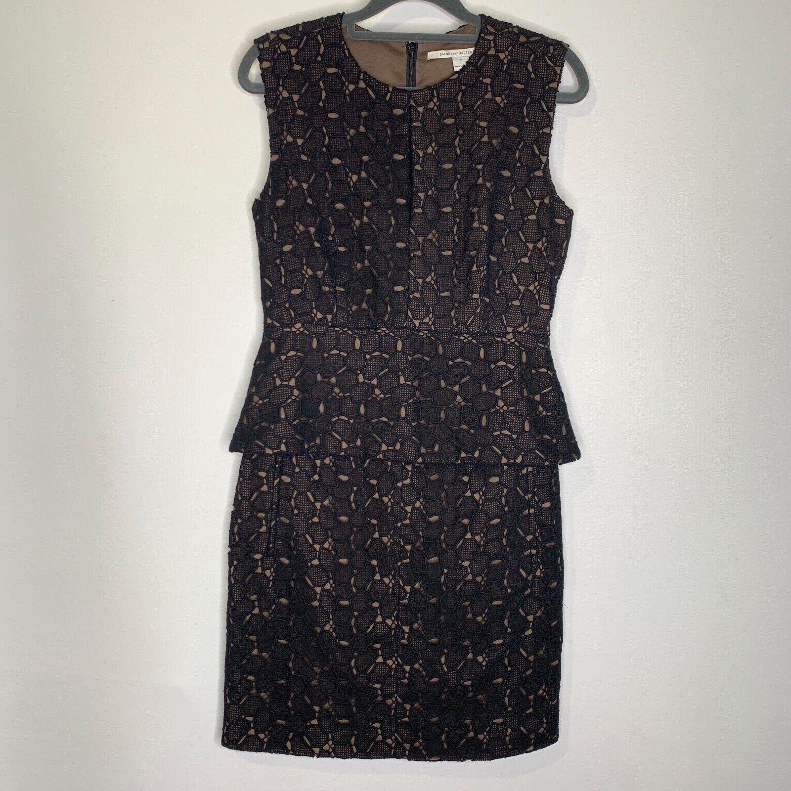 DVF Diane von Furstenberg Delian Pebble Lace Peplum Dress SZ 6