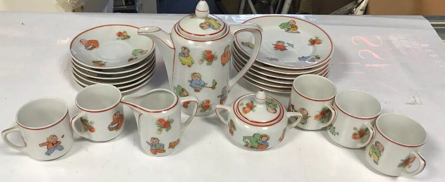 Antiguo Rudolstadt happpifats de 20 piezas Juego de té porecelain de niños con borde rojo